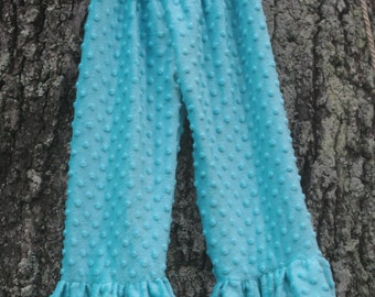 Teal Blue Minky Dot Ruffle Pant - 4t - Ready to Ship Only one available