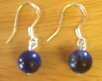 FREE SHIPPING in USA Gorgeous 8mm Lapis Lazuli Bead Earrings on a Sterling Silver 925 Fishhook Earring Assortment of Beads Available Custom