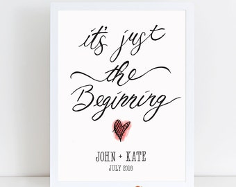 engagement gift printable - personalized engagement printable - wedding gift - It's just the beginning - marriage gifts for friends