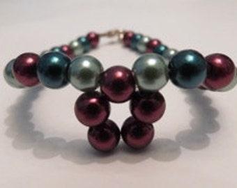 Christine | Purple/maroon, turquoise and sage green glass beads