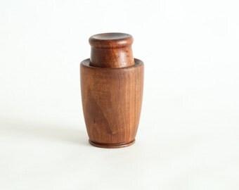 Vintage teak box, turned, carved, vintage Denmark