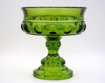 Vintage Green Glass Compote, Pedestal Dish, King's Crown Pattern