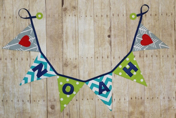 Name Banner - wedding Sign / Last Name bunting / blue and green/ grey fabrics - Party Banner - photo prop - Party decor - heart banner