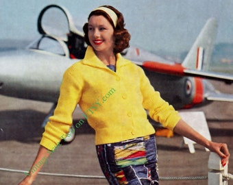 Ladies DK 8ply LIGHT Worsted Ribbed Jacket with Pockets  36 - 40 ins - PDF of Vintage Ladies Knitting Patterns - Instant Download