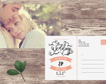 Save The Date Postcard, Postcard Save the Date, Photograph Save the Date, Custom Personalized, Engagement Announcement Card