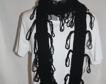 long,black,looped fringe scarf