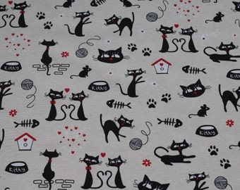 Material of canvas - cats - black - fabric - 0.5 x 1.40 m