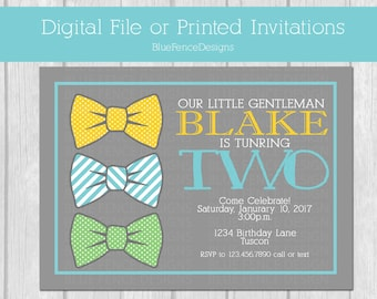 Second birthday bow tie invitation, boy bow tie birthday invite, two year old bow tie, little man invite, little gentleman invitation,