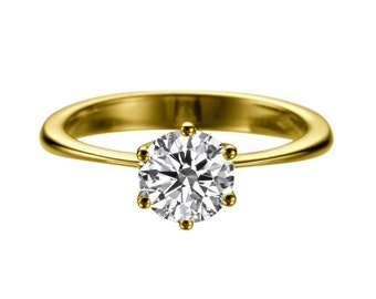 1.50ct White Sapphire Engagement Ring Yellow Gold 14K 6 prongs Round