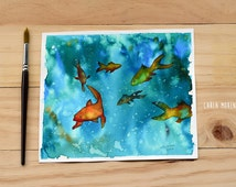 """Original watercolor painting: """"fishes"""", fishes painting, watercolor fishes"""