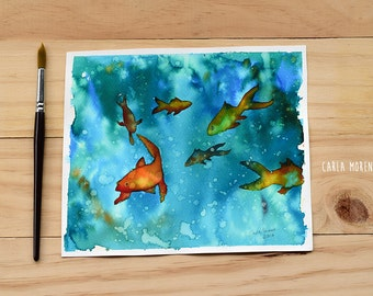 "Original watercolor painting: ""fishes"", fishes painting, watercolor fishes"