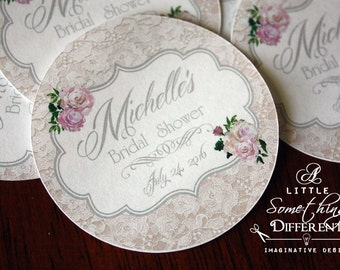 Lace with Vintage Roses Mason Jar Lid Stickers / Lace and Rose Favor Stickers / Vintage Lace and Rose Favor Tags / Shabby Chic Cake Pop Tags