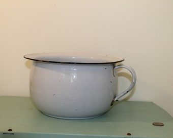Vintage Enamel Blue and White Chamber Pot