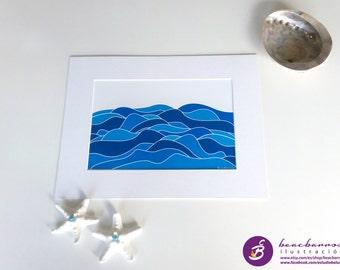nautical print SEA in MOTION, abstract sea landscape, ocean art, navy decor, maritime nursery, bathroom decor, blue waves illustration