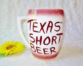 Texas Beer Stein Mug Vintage Huge Large Texas Short Beer Glazed Ceramic Home Decor Collectible Souvenir Man Cave Dad Western Farm Decor Gift
