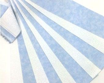 "Jelly Roll 20 Fabric Strips Baby Boy Blue White 2.5"" x 43"""