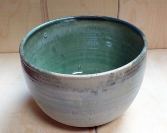 Ceramic Bowl in Beige and Sage Green glaze- Handmade Pottery Wheel Thrown