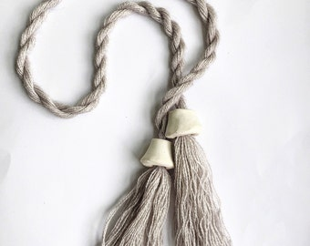 Lariat Necklace// Tassel Necklace // Fiber Necklace