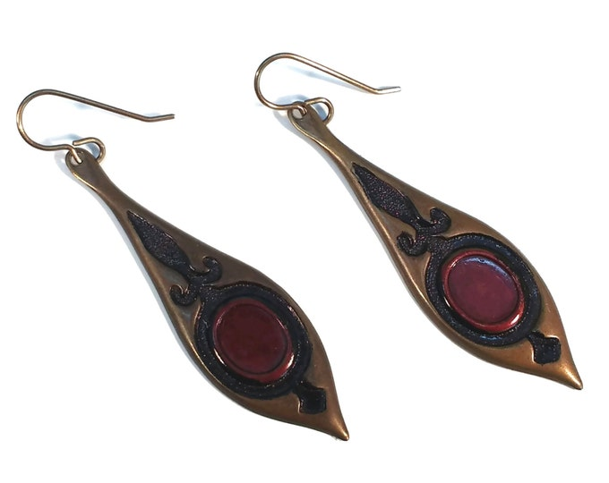 Hand Painted Red & Black Spear Dangle Drop Brass Earrings Nickle Free Ear Wires Hypo Allergenic OOAK, One of a kind