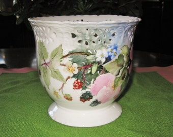 15% SALE! Vintage Hand Painted Reticulated Porcelain Ceramic Vase Planter-Wild Roses & Blue Forget Me Not Flowers Berries Lady Bugs and Bees