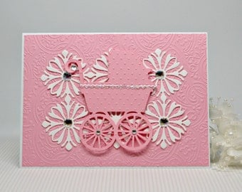 Handmade Baby Girl Card, Luxury Baby Card, Welcome Baby Greeting Card, Christening Card, Pink Baby Carriage Card, Victorian Baby Card