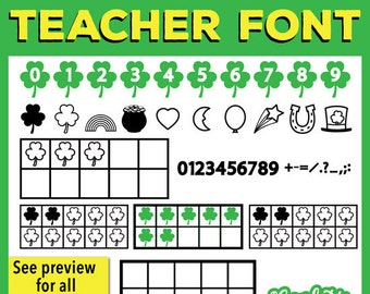 CG Shamrock Ten Frame Teacher Font - 10 Fame - March - St. Partick's Day - Lucky Charms - Classroom Use - Confetti Graphics Fonts