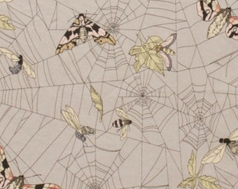A Ghastlie Web by Alexander Henry Fabric Ghastly Butterflies in Grey Mist Smoke Gray Moths