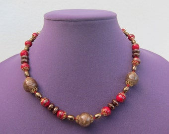 Venetian Glass Necklace/Choker Red Brown Murano Rustic Sparkling Aventurina Glass Knotted  Beads