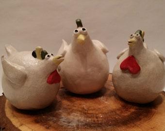 Ceramic Chickens - Handmade, Set of 3