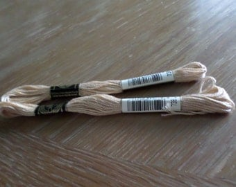 2 Skeins DMC Gold #738 Embroidery Cotton FRANCE