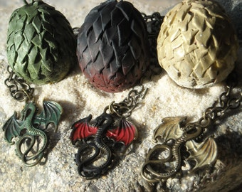 Drogon Viserion and Rhaegal Dragons and Eggs Necklaces - hand painted- Inspired by Daenerys Targaryen Game of Thrones
