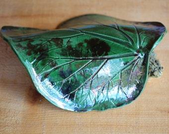 Green Rhubarb Leaf Toad House Raku for the Garden