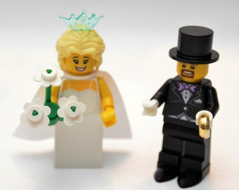 Custom Lego Minifigure Bridal Couple ~ Wedding Lego ~ Bride & Groom Custom Lego ~ Lego Wedding Couple