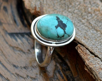 Turquoise Ring, 925 Sterling Silver Green Turquoise Gemstone Ring, Modern Turquoise Oval Shape Ring, Birthstone Ring, Firoza Stone Ring