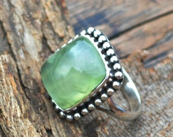 Natural Prehnite Gemstone Ring, 925 Sterling Silver Prehnite Ring, Designer Bezel Work Ring, Statement Ring ,Natural Prehnite Custom Ring