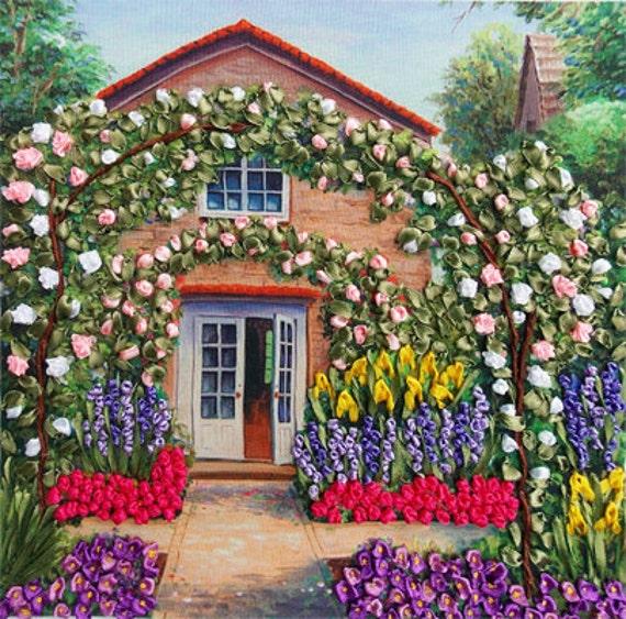Rose Garden silk ribbon embroidery DIY kit, wall hanging artwork craft set