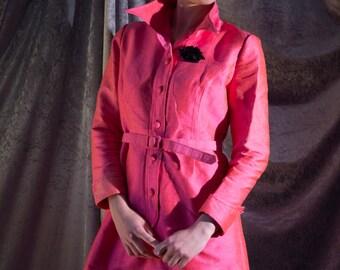 """L / XL Shocking Schiaparelli PINK 100% SILK button down, belted shirtwaister! 60s luminous party dress 34"""" waist"""
