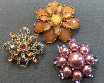 Three Pretty Rhinestone Brooches