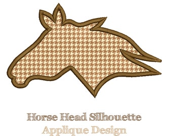 HORSE HEAD SILHOUETTE - Applique Design - Machine Embroidery - Instant Download - Multiple Sizes
