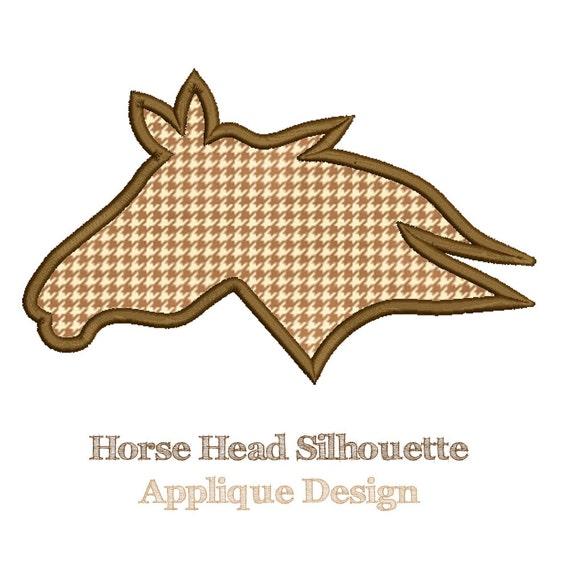 Horse head silhouette applique design machine embroidery