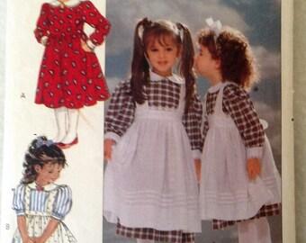 Butterick 4404 pattern, Little girl dress and apron, vintage butterick pattern, long sleeve, toddler pattern