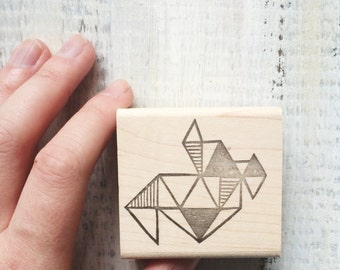 Geometric Triangles Rubber Stamp , prism, geometric, modern, design, stamping, cards, packaging, wrapping paper, pattern