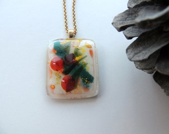 Fused glass bubbles necklace in green, red and yellow, one of a kind pendant necklace