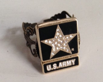 Antique Us Army Sterling Silver Ring Onyx Stone