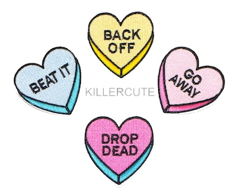 """2"""" Kawaii pastel GO AWAY beat it DROP dead Back off candy hearts Embroidered Iron on patch applique motif"""