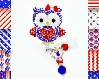 Adorable Patriotic Owl ID reel Badge holder~Gorgeous Ultimate Bling Badge~4th of July Badge Reel (EG21))
