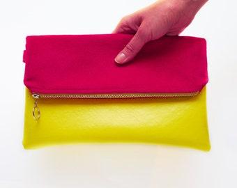 Yellow Pink Bag, Fold over Bag, Colorful Clutch, Vegan Leather Clutch, Yellow Clutch, Minimalist Pouch, Zipper Clutch, Pink Clutch, Pochette