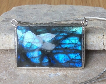 Large Blue Flash Labradorite Silver Pendant Necklace, Gemstone Necklace, Rectangle Stone Necklace,  Labradorite Pendant Necklace