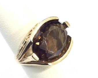 9ct gold smoky quartz ring ,hallmarked
