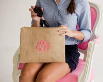 Burlap Makeup Bag-Monogrammed Cosmetic Bag-Burlap Cosmetic Bag-Brides-Bridesmaids Gift-Travel-Luggage-Vacation-Preppy Cosmetic Bag